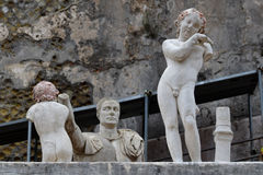 Statues, Herculaneum Archaeological Site, Campania, Italy. Herculaneum or Ercolano, Campania, Italy was an ancient Roman town destroyed by volcanic pyroclastic stock photo