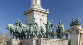 Statues at Heroes Square in Budapest royalty free stock photo