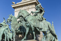 Statues at Heroes Square in Budapest stock photos
