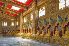 Statues of highly-revered Buddhist monks of Thailand enshrined inside Phra Maha Chedi Chai Mongkol, Roi Et, Thailand Royalty Free Stock Image