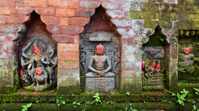 Statues of Hindu Deities on a public monument. Bhaktapur, Nepal Royalty Free Stock Images