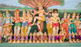 Statues of Hindu God in Sri Mahamariamman Indian Temple Stock Photo