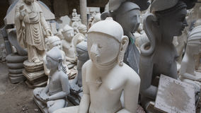 Statues of Hindu Gods and Goddess. Crafts and Arts of India. Mur. Ti handmade Manufacturing in Jaipur Rajasthan. Indian God sculpture made of white marble stock photography