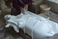 Statues of Hindu Gods. Nandi - Shiva`s bull. Crafts and Arts of Royalty Free Stock Image