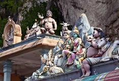 Statues on hindu temples at Batu caves Royalty Free Stock Photos