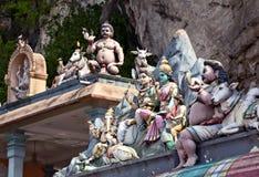 Statues on hindu temples at Batu caves Royalty Free Stock Photos