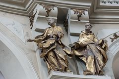 Statues, the interior of St. Eucharist Church, Dominican Church in Lviv, Ukraine. Statues, the interior of St. Eucharist Church, the former Dominican Church in Royalty Free Stock Photo