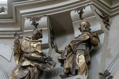 Statues, the interior of St. Eucharist Church, Dominican Church in Lviv, Ukraine. Statues, the interior of St. Eucharist Church, the former Dominican Church in Stock Image