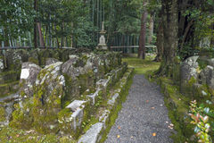 Statues of Japanese Buddhist monk at Sekizan Zen-in, Japanese temple in Kyoto Stock Images