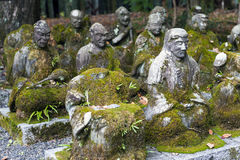 Statues of Japanese Buddhist monk at Sekizan Zen-in, Japanese temple in Kyoto Royalty Free Stock Photos