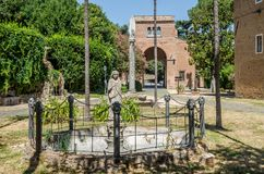 Statues of Jesus Christ in the courtyard of the Abbazia delle Tre Fontane, in the martyrdom of the apostle Paul in Rome, Italy Stock Photography