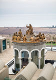 The statues of Jesus and Twelve Apostles, Domus Galilaeae in Israel. GALILEE, ISRAEL - DECEMBER 3: The statues of Jesus and Twelve Apostles in Domus Galilaeae on Royalty Free Stock Image