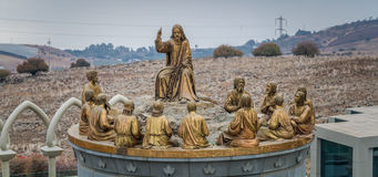 The statues of Jesus and Twelve Apostles, Domus Galilaeae in Israel. GALILEE, ISRAEL - DECEMBER 3: The statues of Jesus and Twelve Apostles in Domus Galilaeae on Royalty Free Stock Images