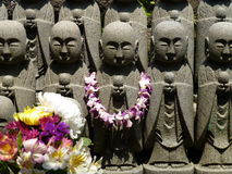 Statues of Jizo Bodhisattva at the Hase-Kannon temple, Kamakura, Japan Royalty Free Stock Image