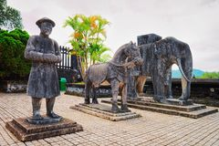 Statues in Khai Dinh Tomb in Hue Vietnam. Hue, Vietnam - February 19, 2016: Statues in Khai Dinh Tomb in Hue, Vietnam royalty free stock photo