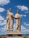 Statues of King Stephen and Queen Gisela, Veszprem, Hungary. Statues of King Stephen I of Hungary and Gisela of Bavaria, artwork by sculptor Jozsef Ispanki royalty free stock photography