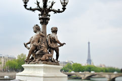Statues and lamp post Royalty Free Stock Image