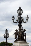 Statues and lanterns on Pont Alexander III, Paris, France Royalty Free Stock Photography