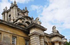Statues of lions on columns in Blenheim Palace in Woodstock, Oxfordshire, England. Architecture of a British landmark or historic tourist attraction in Woodstock royalty free stock images