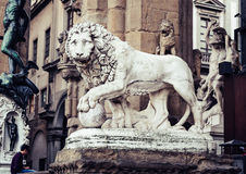Statues at Loggia Dei Lanzi in front of Palazzo Vecchio in Florence Royalty Free Stock Image