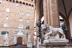 Statues in Loggia dei Lanzi and Palazzo Vecchio Stock Images