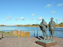 Statues of Mahatma Gandhi and Hermann Kallenbach. Was open in 2015 year  in Rusne island , Lithuania Stock Photos