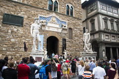 Statues on the main square in Florence, Italy royalty free stock photography