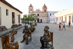 Statues of Martha Jimenez in front of the Carmen church Stock Images