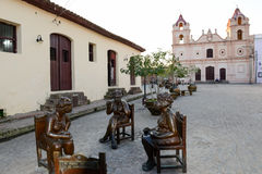 Statues of Martha Jimenez in front of the Carmen church Stock Image