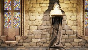 Statues of medieval monks with burning torches. Loopable. HD Statues of medieval monks with burning torches stock footage