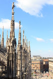 Statues on Milan Cathedral and Piazza del Duomo Royalty Free Stock Images