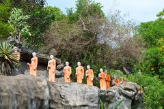 Statues of monks in Golden cave temple in Dambulla, Sri Lanka stock image