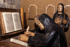 Statues of monks in the monastery Royalty Free Stock Images