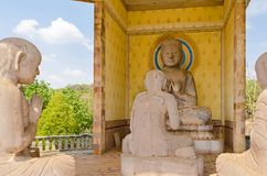 Statues of monks in one of the shrines in the Buddhist Center in royalty free stock image