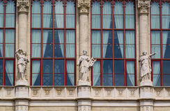 Statues of muses, Vigado Concert Hall in Budapest, Hungary. BUDAPEST, HUNGARY - JUNE 12, 2016: Statues of muses decorate the pillars above the central arcade of Stock Image