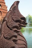 Statues of mythical creatures. Mythical animal keeper sanctuary. Huay Kaew temple in Lopburi, Thailand Stock Photos