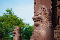 Statues of mythical creatures. Mythical animal keeper sanctuary. Huay Kaew temple in Lopburi, Thailand Stock Image