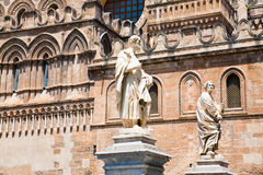 Statues near Palermo Cathedral, Sicily Royalty Free Stock Images
