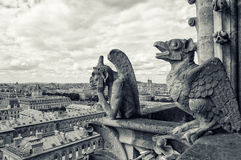 Statues on Notre-Dame in Paris Stock Images