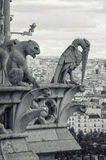 Statues on Notre-Dame in Paris Stock Photo