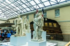 Statues Of Great Historical British Captains In National Maritime Museum, London, England Stock Photos
