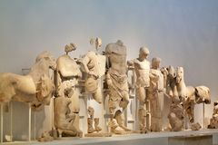 Statues of Olympia Museum, Greece stock images