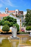 Pool with statues in Mutamid park, Silves, Portugal. Statues in an ornamental pool in the Praca al Mutamid with the cathedral to the rear, Silves, Portugal stock photo