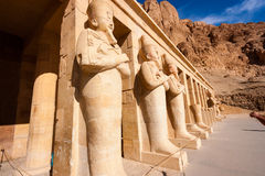 Statues of Osiris at Hapshetpsut' Temple Royalty Free Stock Photo