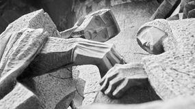 Statues of the passion facade of the Sagrada Familia church. (Antoni Gaudi) Barcelona - Spain royalty free stock photography