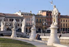 Statues and people on Prato della Valle, one of the largest square in Europe royalty free stock photos
