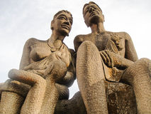 Statues of Tribal lovers. Statues of tribal people situated over the hill royalty free stock images