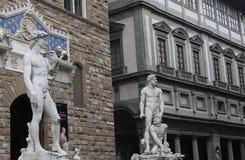 Statues in piazza della signoria, Florence, Italy. A view in FLORENCE, ITALY, OCTOBER 27, 2015 : Statues in piazza della signoria, october 27, 2015 in Florence Royalty Free Stock Photos