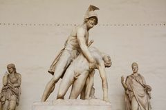 Statues in Piazza della Signoria, Florence, Italy. Warriors in white marble, in Piazza della Signoria, in Florence, Italy, Europe royalty free stock photos