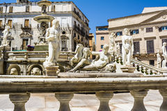 Statues in Piazza Pretoria, Square of Shame at Palermo, Sicily Royalty Free Stock Photography